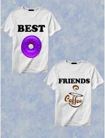 Set 2 tricouri albe - Best Friends