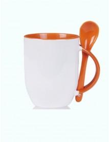Cană personalizată cu linguriță portocalie