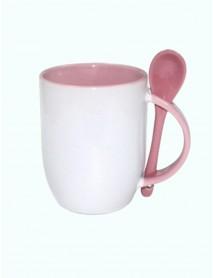 Cană personalizată cu linguriță roz
