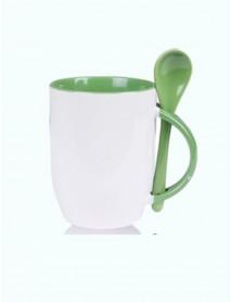 Cană personalizată cu linguriță verde