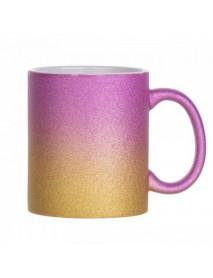 Cană în doua culori model glitter