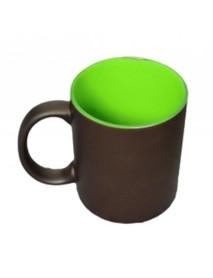 Cană personalizată neagră termosensibilă cu interior verde