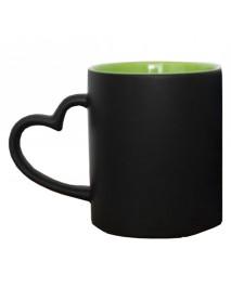 Cană termosensibilă neagră cu interior verde și toartă inimă cu două sau trei poze
