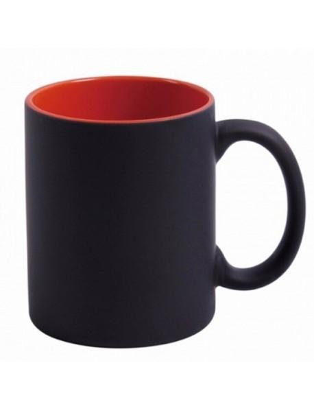 Cană termosensibilă neagră cu interior roșu cu două sau trei poze și text