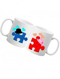 Set 2 căni Puzzle pentru el și ea