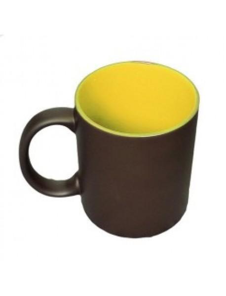 Cană personalizată termosensibilă neagră cu interior galben