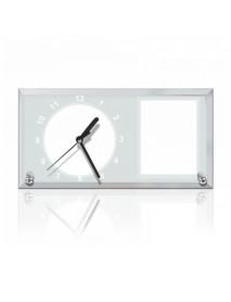 Ceas personalizat din sticlă cu două poze 16x30cm
