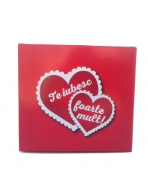Cutie cadou pentru căni rosie - Te iubesc foarte mult