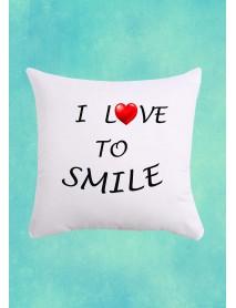 Pernă pătrată alba - I love to smile