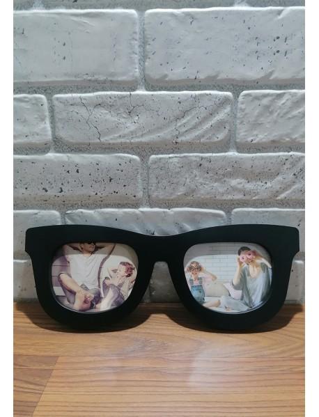 Ramă foto model ochelari cu doua poze neagră