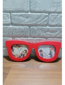 Ramă foto medel ochelari cu două poze roșie