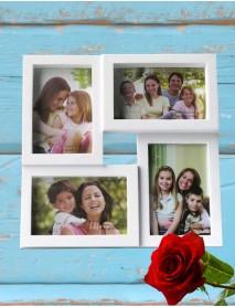 Ramă foto albă personalizată colaj cu 4 poze