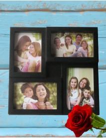 Ramă foto neagră personalizată colaj cu 4 poze