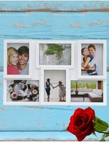 Ramă foto personalizată albă colaj cu 6 poze