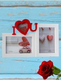 Ramă foto personalizată cu 2 poze - I love you