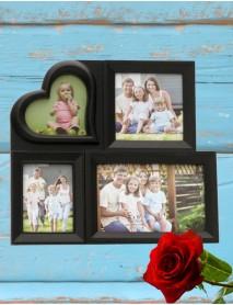 Ramă foto neagră personalizată inimioară cu 4 poze
