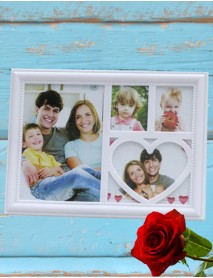 Ramă foto personalizată cu 4 poze - inimioară
