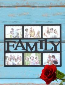 Ramă foto neagră colaj cu 6 poze - Family