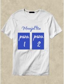 Tricou personalizat alb cu mesaj si doua poze