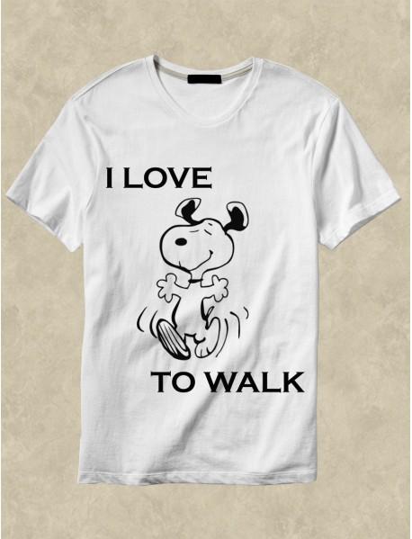 Tricou personalizat alb - I love to walk