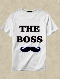 Set 2 tricouri personalizate albe - The boss , the real boss