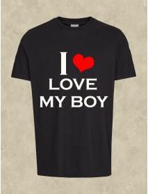 Tricou personalizat negru - I love my boy