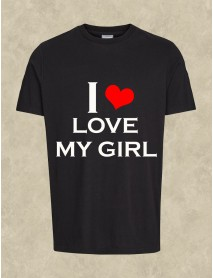 Tricou personalizat negru - I love my girl